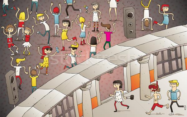 Jovens ao ar livre clube ilustração Foto stock © VOOK