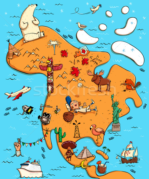 Illustrated Map of North America.  Stock photo © VOOK