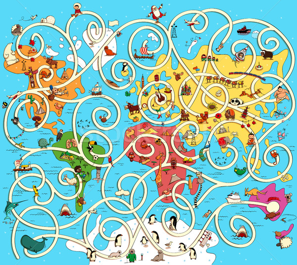 Great Map of the World Maze Game. Find the right way from Austra Stock photo © VOOK