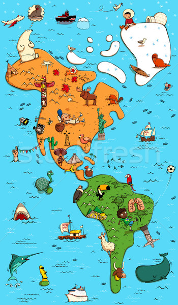 Illustrated Colorfull Map of North and South America Stock photo © VOOK
