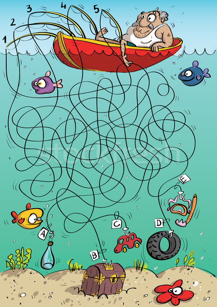 Rybaka labirynt gry dzieci ilustracja Zdjęcia stock © VOOK