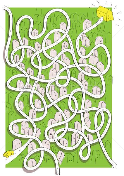 зеленый город лабиринт игры детей рисованной Сток-фото © VOOK