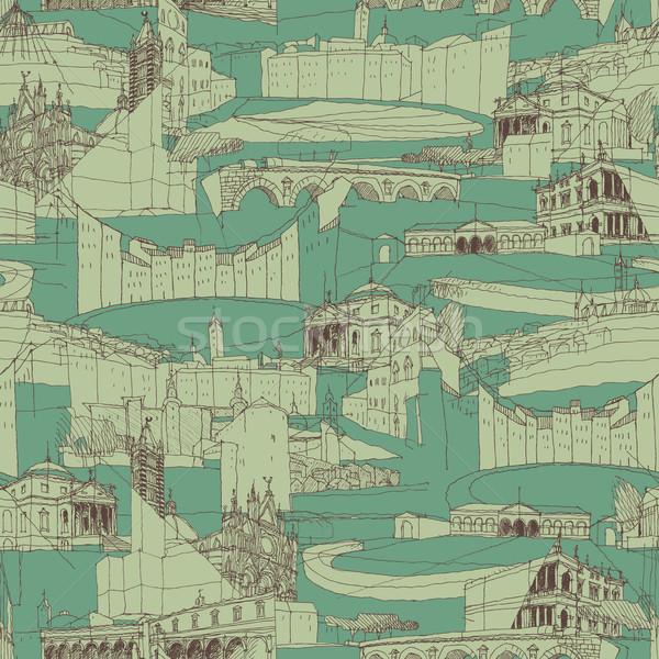 Történelmi olasz építészet kollázs végtelen minta rajz Stock fotó © VOOK
