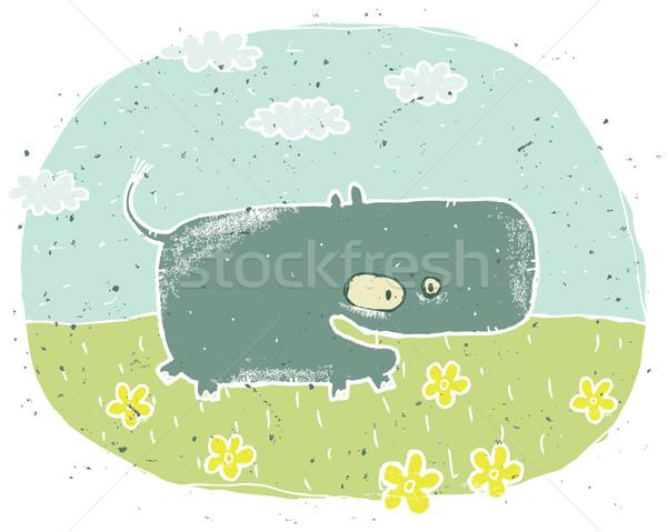 Foto stock: Grunge · ilustração · bonitinho · hipopótamo · flores