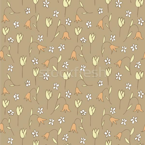 Foto stock: Floral · campo · repetitivo · cinza · ilustração