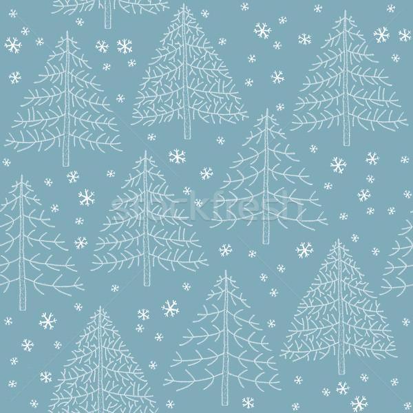 Sem costura inverno floresta padrão ilustração Foto stock © VOOK