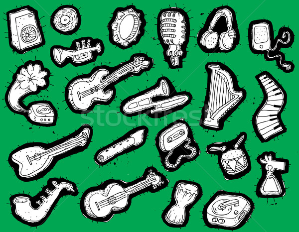 Hangszerek gyűjtemény feketefehér zöld illusztráció eps8 Stock fotó © VOOK