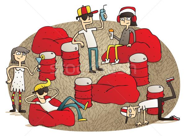 Fiatalok szórakozás illusztráció kézzel rajzolt elemek izolált Stock fotó © VOOK