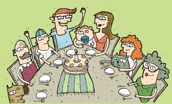 Doğum günü örnek aile etrafında Stok fotoğraf © VOOK