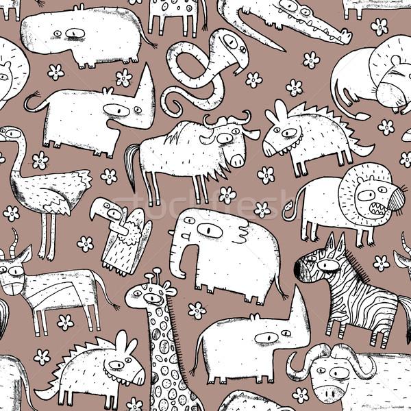Afrika hayvanlar kolaj karalama çizimler Stok fotoğraf © VOOK