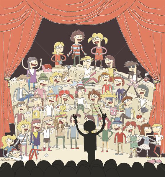 Funny escuela coro cantando dibujado a mano ilustración Foto stock © VOOK