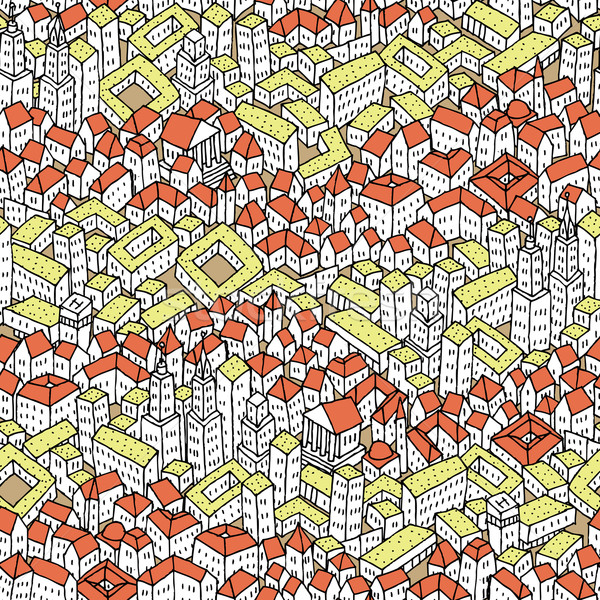 Doodle City seamless pattern Stock photo © VOOK