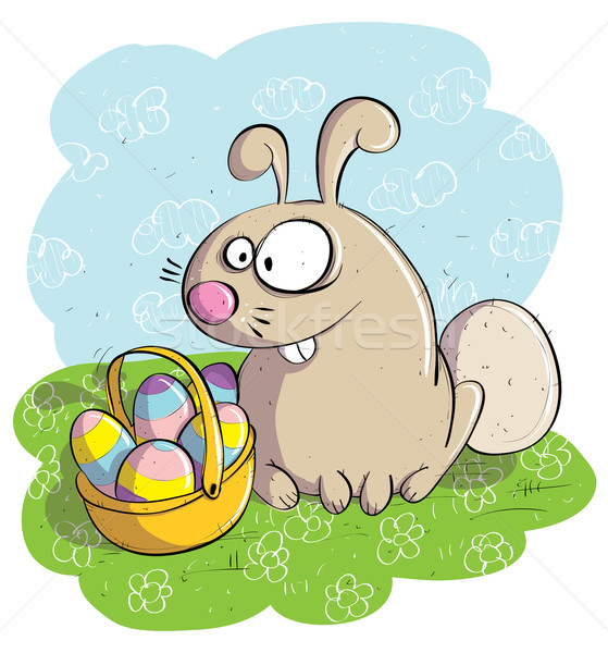 Easter Bunny with Basket of Eggs  Stock photo © VOOK