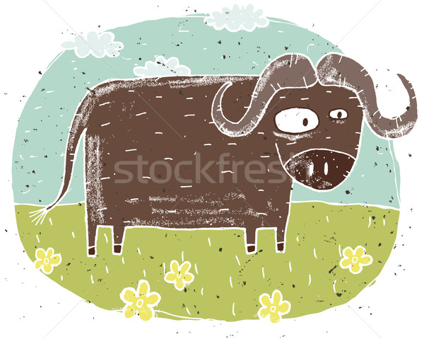 Hand drawn grunge illustration of cute buffalo on background wit Stock photo © VOOK
