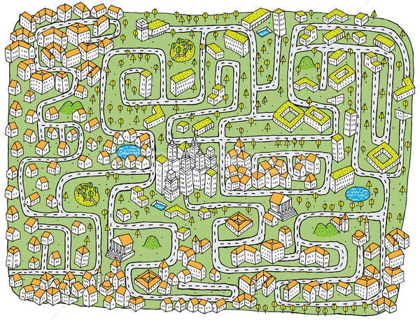 городского пейзаж лабиринт игры детей иллюстрация Сток-фото © VOOK