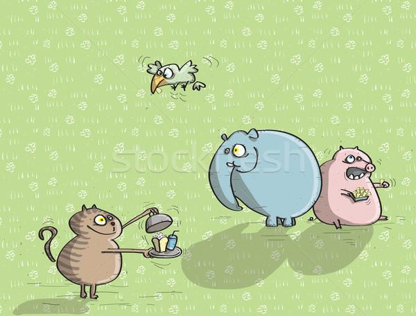 állatok szórakozás zöld illusztráció eps10 vektor Stock fotó © VOOK