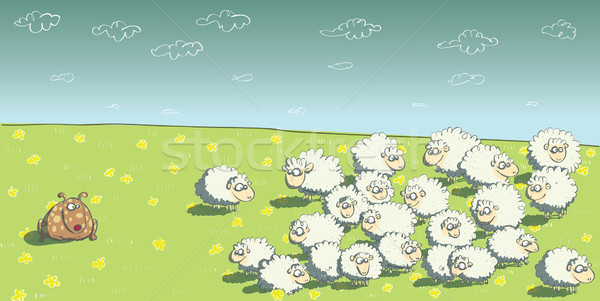 Flock of Sheep and Sheepdog  Stock photo © VOOK