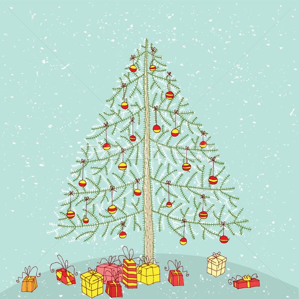 ストックフォト: グランジ · クリスマスツリー · 手描き · 詳しい · イラスト