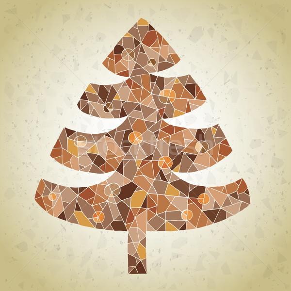 Stok fotoğraf: Grunge · mozaik · noel · ağacı · tebrik · kartı · küçük · parçalar