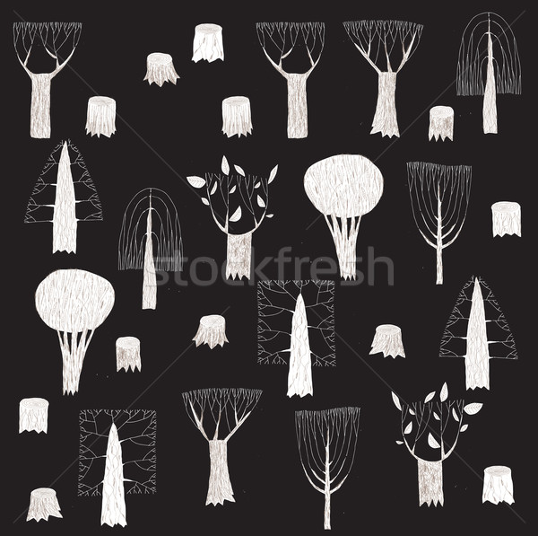 Big Grunge Trees Collection in black and white, with grey textur Stock photo © VOOK