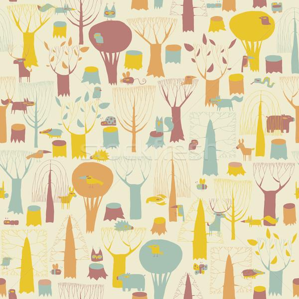 животные четыре цветами рисованной Гранж Сток-фото © VOOK