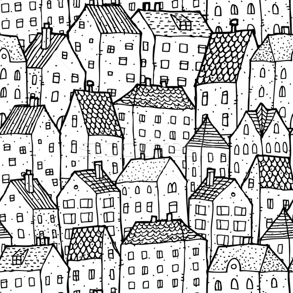 City seamless pattern in balck and white Stock photo © VOOK