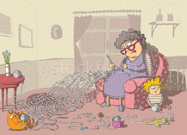 Büyükanne tığ işi labirent oyun el çizim Stok fotoğraf © VOOK