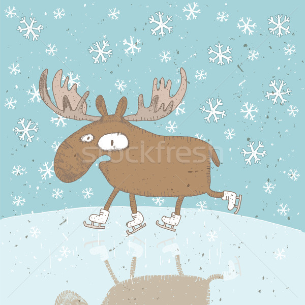 Funny Moose Ice-Skating Christmas Card Stock photo © VOOK