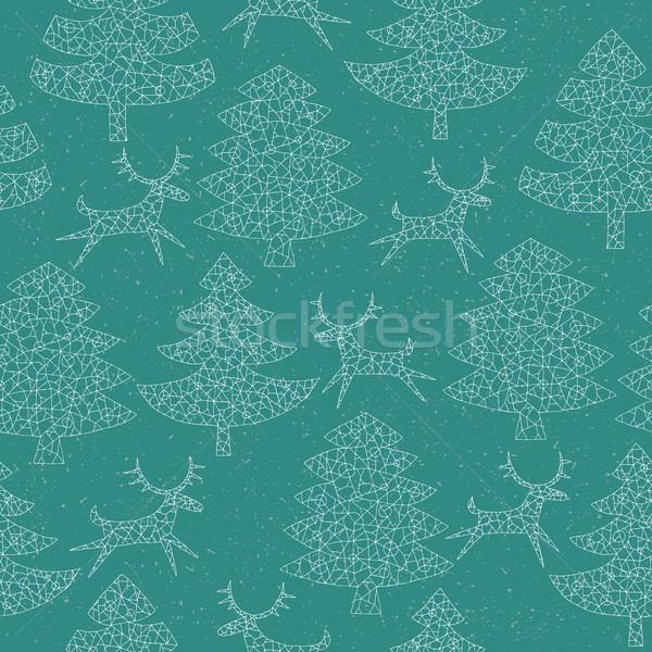 Magical Mosaic Christmas Trees Forest with Reindeer Stock photo © VOOK