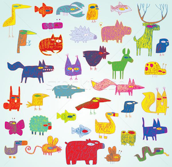 Engraçado grunge animais coleção cores Foto stock © VOOK