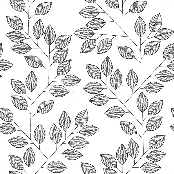 Tree branch seamless pattern in black and white Stock photo © VOOK