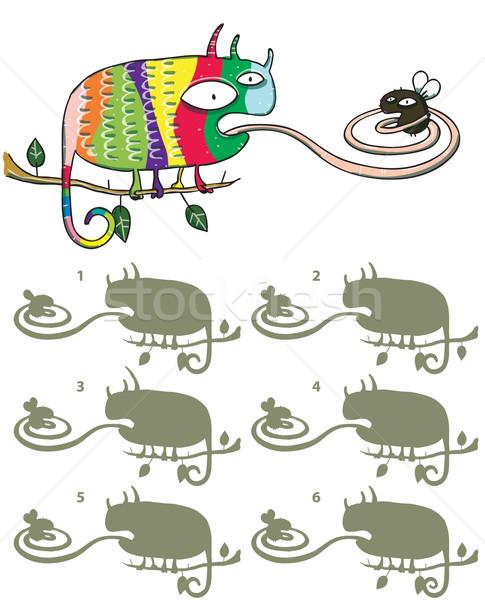 Chameleon latać lustra obraz gry dzieci Zdjęcia stock © VOOK