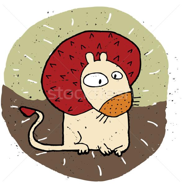 Kézzel rajzolt grunge illusztráció aranyos oroszlán eps8 Stock fotó © VOOK