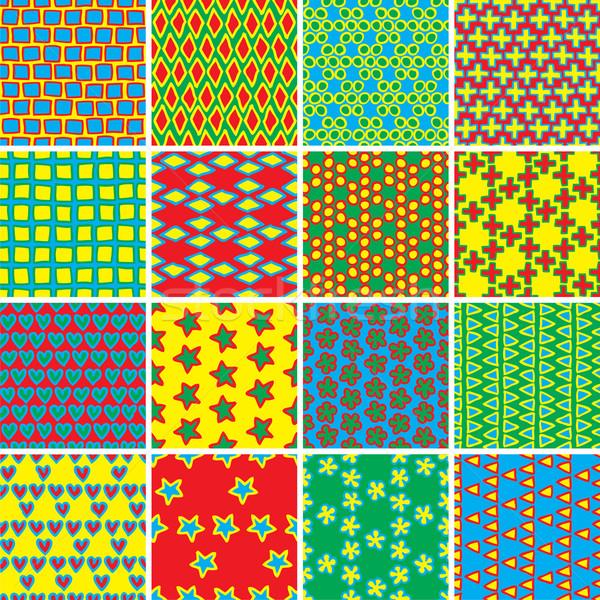 Alapvető firka végtelen minta szett színek gyűjtemény Stock fotó © VOOK