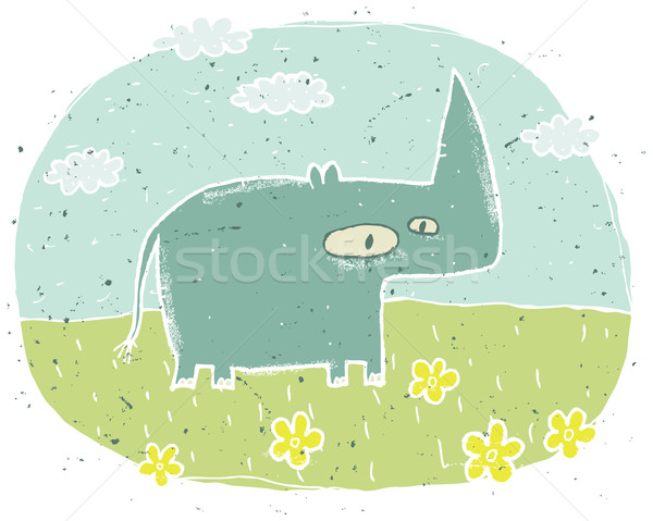 Hand drawn grunge illustration of cute rhino on background with  Stock photo © VOOK