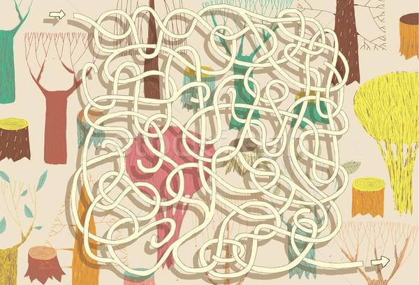 Erdő labirintus játék megoldás rejtett réteg Stock fotó © VOOK