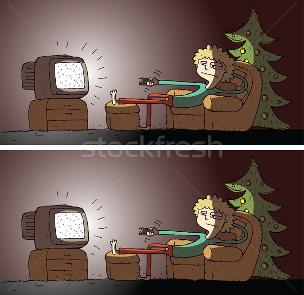 Watching TV Differences Visual Game Stock photo © VOOK