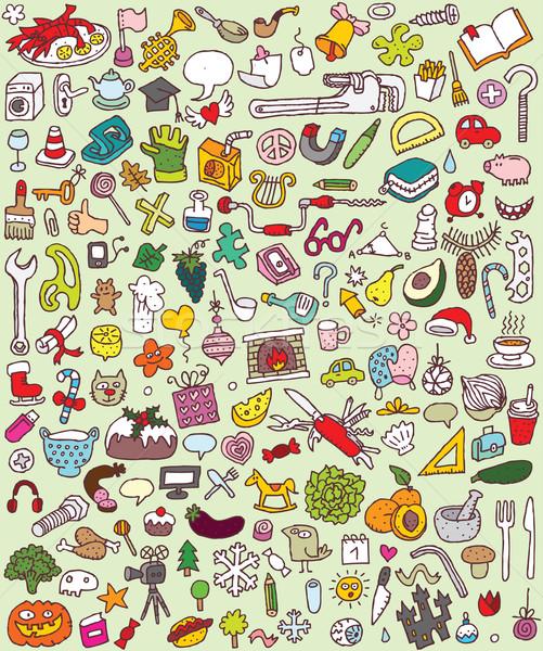 Grande rabisco coleção numeroso pequeno Foto stock © VOOK