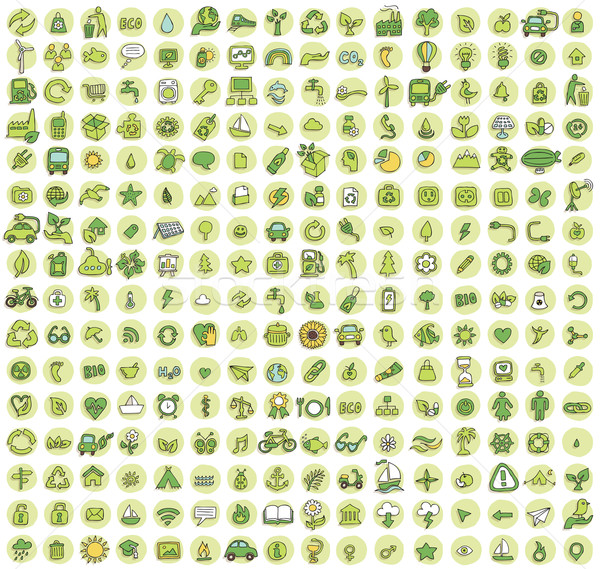 Collection of 256 ecology doodled icons  Stock photo © VOOK