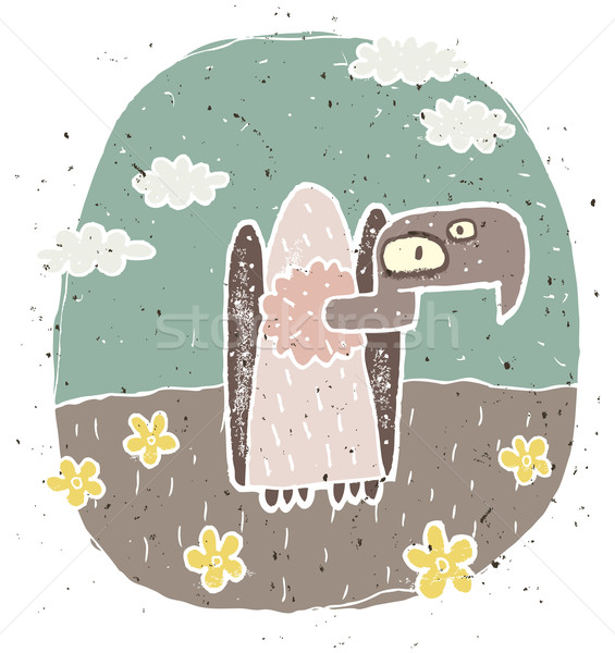 Hand drawn grunge illustration of cute vulture on background wit Stock photo © VOOK