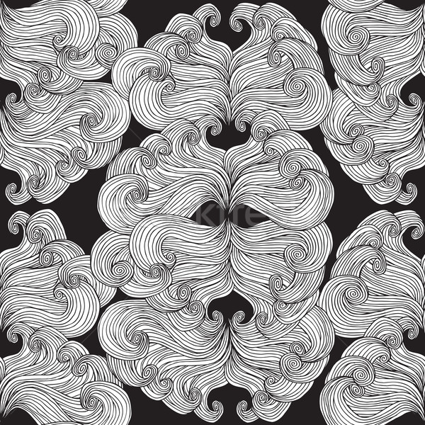 Carnival Mask seamless pattern in black and white Stock photo © VOOK