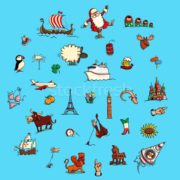 Világ illusztrációk szett nem Európa gyűjtemény Stock fotó © VOOK
