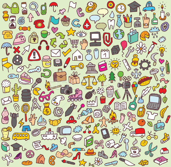 Large Doodle Icons Set Stock photo © VOOK