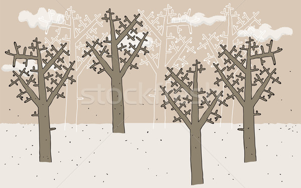 Trees in Winter hand drawn  Stock photo © VOOK