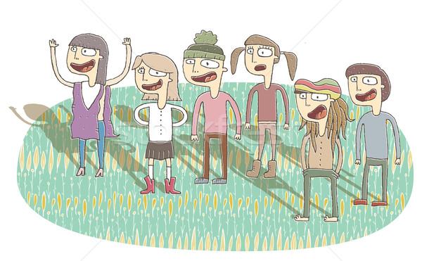 Kicsi illusztráció énekel tinédzserek eps10 vektor Stock fotó © VOOK