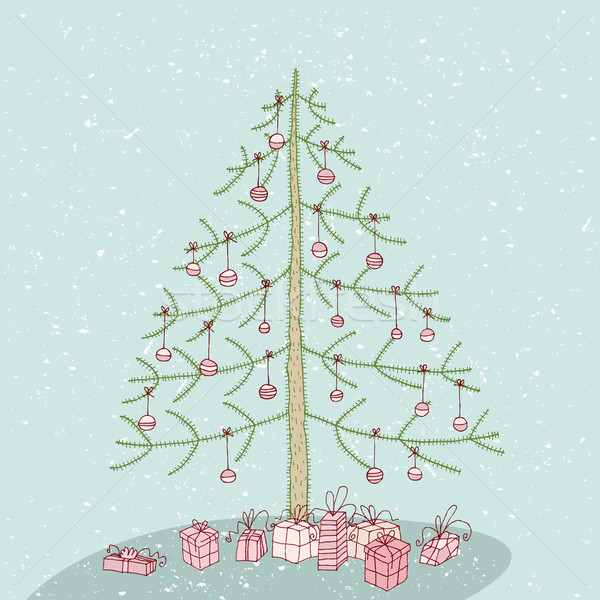 Гранж рождественская елка нет рисованной подробный Сток-фото © VOOK
