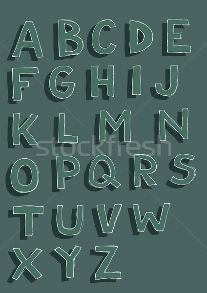 Dark Font Set of hand drawn capital letters Stock photo © VOOK
