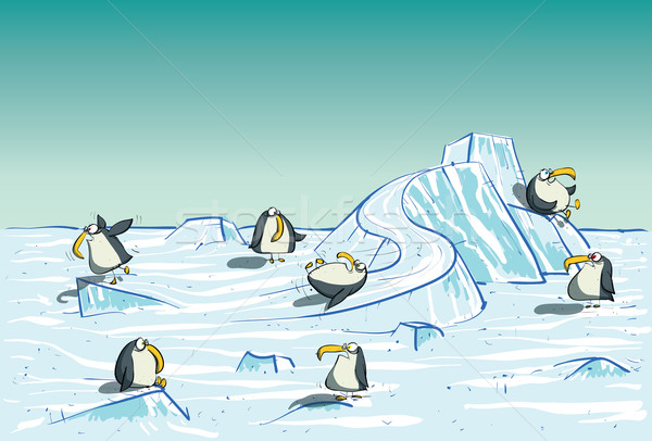Penguins Having Fun on North Pole  Stock photo © VOOK