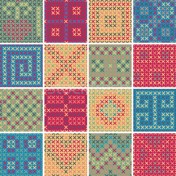 Textil végtelen minta szett 16 különböző játékos Stock fotó © VOOK
