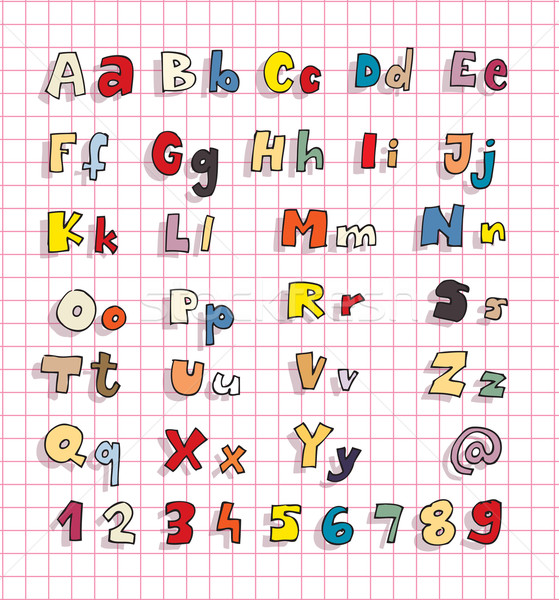Hand Drawn Bold Simple Alphabet ABC in colours Stock photo © VOOK